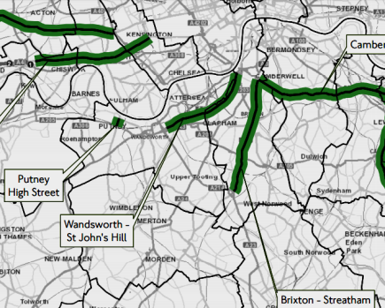 The planned clean bus zones in south west London