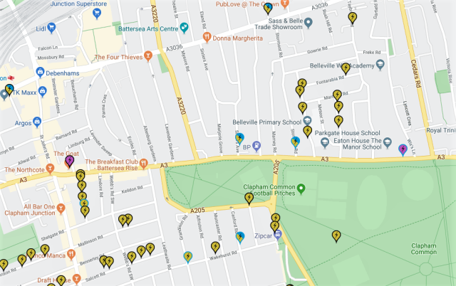 Charging point locations