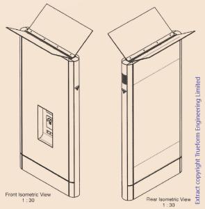 Axonometric phone box view