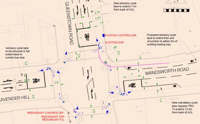 Queenstown Road Lavender Hill junction proposals